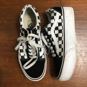 Vans Old Skool Platform Checkerboard Sneakers